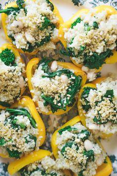 Garlic & Lemon Quinoa Stuffed Bell Peppers w/ Broccoli Rabe