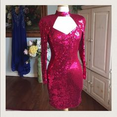 Nite Line hot pink sequins formal dress Hot pink sequins dress. Very fitted. Size 4. Extremely beautiful. A few loose sequins. But amazing. Ask for specific measurements of you need but a stretchy material. So a stretchy 4.    I will add exact measurements tomorrow. Nite Line Dresses Prom