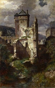 art-and-things-of-beauty: Fritz von Wille - Andernach. Night view of the ruins of the old Castle. Oil on canvas. Chateau Medieval, Medieval Castle, Medieval Fantasy, Fantasy Landscape, Landscape Art, Landscape Paintings, Landscapes, Fantasy Castle, Fantasy Art