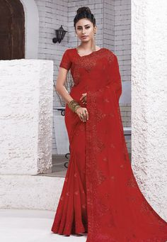 Buy Red Chiffon Festival Wear Saree 204559 with blouse online at lowest price from vast collection of sarees at Indianclothstore.com.