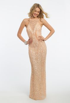 Celebrate flawless fashion by choosing this stunning evening gown for your next formal event! With its cleo illusion neckline, fitted bodice, and sheath style, this prom dress is waiting to light up the night. #camillelavie