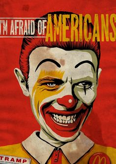 Pop Juggernaut by Butcher Billy on tumblr ☆ David Bowie ☆ I'm Afraid of Americans ☆ Ronald McDonald ☆ #aladdinsane