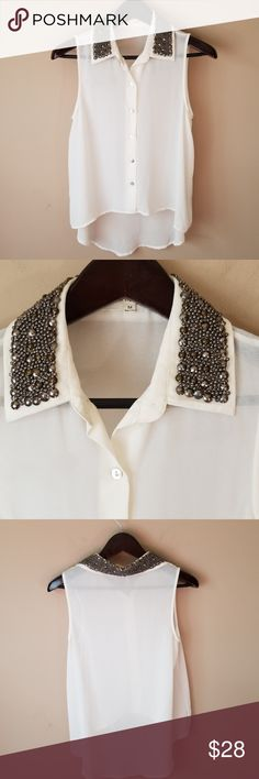 "Iris beaded collar blouse sz M Armpit to Armpit 17"" Length front 21"" back 29"" Iris sz M   Beautiful  Light ivory color blouse size medium beautiful beaded detailing around the collar  mesh see through high low  Front and  Back.   Thank you for visiting my closet I carry many sizes and styles most NWT Iris Los Angels Tops Blouses"