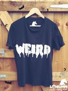 WEIRD Black Tshirt Grunge Vintage tee screen print by Lithiumm on Etsy! £14.00 kawaii, pastel goth, destroyed, distressed, nirvana, handmade, hand printed