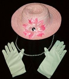 Girls ~ TEA PARTY HAT & GLOVES & NECKLACE Toddler Costume Dress up Pretend Play