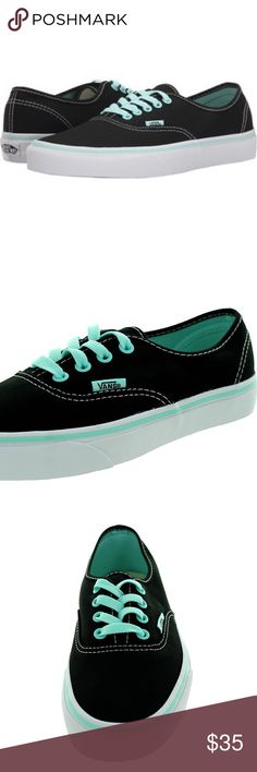 Vans Pop Tinted Black and Blues' The Authentic, the original and now iconic Vans style, features a simple low top, lace-up profile with sturdy canvas uppers, specialty metal eyelets, and signature rubber waffle outsoles. Vans Shoes Sneakers