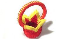 origami basket 3d - YouTube