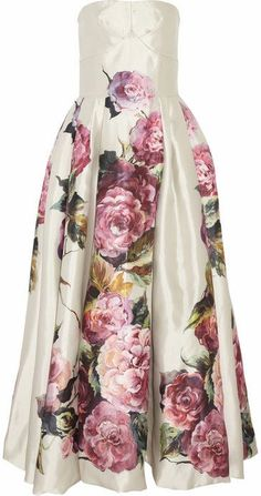 Dolce and Gabbana rose print silk mikado dress Pink Silk Dress, Rose Print Dress, Pink Gowns, Floral Gown, Rose Dress, Floral Dresses, Vestido Dolce Gabbana, Missoni, Moda Floral