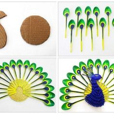"22 Likes, 3 Comments - Recyclart (@werecyclart) on Instagram: ""Diy Home Decor: How To Make Beautiful Peacock With Plastic Spoon #Craft, #Diy, #HomeDécor,…"""