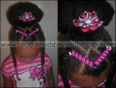 Natural hairstyle for girls using Sidewinder Hairholders from hairholders.com.  Hairstyle by beadsbraidsbeyond.blogspot.com