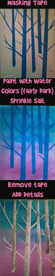Salt Water Color Project: You only need masking tape, salt, water colors, paper and brushes. craft-ideas
