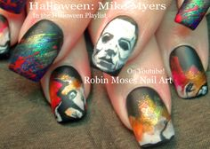 HALLOWEEN Nails! Scary Mike Myers Nail Art Design Tutorial