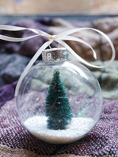DIY Snow Globe Ornament  These adorable ornaments only require a few materials and are quick and easy to make. They make great, affordable gifts as well!    Living in Southern California means I only see snow on far away mountains and rarely up close. It's great to have a little piece of the quintessential winter hanging on a tree.