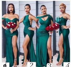 Emerald Green Bridesmaid Dresses, African Bridesmaid Dresses, Wedding Bridesmaid Dresses, Dream Wedding Dresses, Wedding Attire, Bridal Dresses, Wedding Gowns, Black Bridesmaids, Dresses Dresses