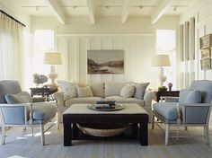 Classy Beach House with White Color Domination: Cozy Living Room White Oak Floor Maine Beach House Decor, Home And Living, Cozy Living Rooms, Home Living Room, Living Room White, House, Walls Room, Beach Cottage Decor, Living Spaces