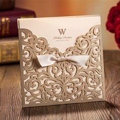 Goldene Hochzeit Einladungskarte mit einer Schleife OPL102