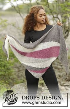 Tide Rose by DROPS Design. Beautiful shawl with stripes. Free #knitting pattern