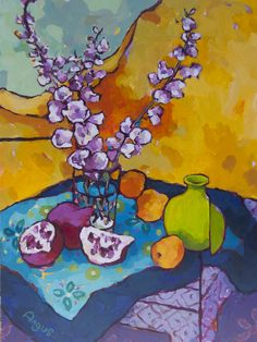 Delphinium with Apricots and Pom – Angus Wilson | Ann Korologos Gallery