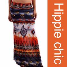 AZTEC HIPPIE CHIC MAXI SKIRT Vibrant color scheme with an Aztec design rollover waist. Polyester/cotton/spandex blend. Very hip! tla2 Skirts Maxi