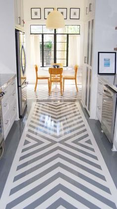 I want to rip the carpet up in the hall and stairwell and paint this on the floor - chevron floor