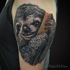 Awesome textures in this Sloth tattoo by @MikeDeVries! #Waterloo #WaterlooTattooStations #waterlootattoostorage #tattooworkstations #tattooartists #tattoostorage #tattooshop #artistseries #artists #art #ink #tommyssupplies #artistseries #dps #eternalink #bishoprotary #tattoo #tattoos by waterlootattoo