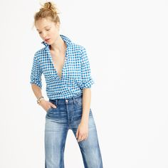 Boy shirt in crinkle gingham : casual shirts | J.Crew