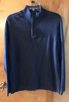 Lachlan British Inspired Navy Blue Cotton Half Zip Men's Sweater Shirt L #Lachlan #12Zip