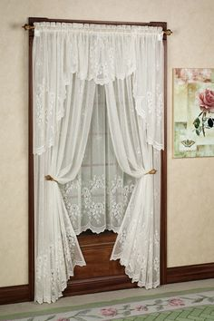 The polyester Cameo Rose Lace Window Treatment has a traditional lace motif and nicely textured ground. Rose Curtains, Kids Curtains, Panel Curtains, Balloon Curtains, Diy Candles With Flowers, Nautical Curtains, Blackout Roman Blinds, Farmhouse Window Treatments, Lace Window