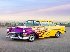 AUT 26 RK2694 01 - 1956 Chevrolet 210 Post Hot Rod Yellow Purple ...
