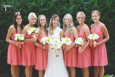 Coral Bridesmaids dresses, Bridal Party Photos, Kansas City Weddings, Photography by RPM Photography www.rpmkc.com