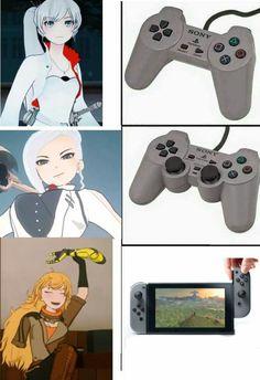 O god why didnt i think about it before this meme Anime Ai, Rwby Anime, Anime Demon, Fanart Rwby, Rwby Bumblebee, Rwby Volume, Rwby Memes, Rwby Characters, Overwatch
