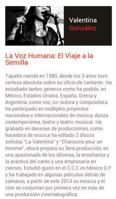 Valentina González Tapatía de nacimiento y Cantante por convicción. Ponente 2014 con una charla muy interesante... TEDEx Guadalajara 2014... !No te la pierdas!