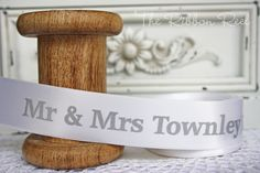Personalised Printed Wedding Ribbon  http://theribbonreel.co.uk/category/30238-personalised-printed-ribbon.aspx