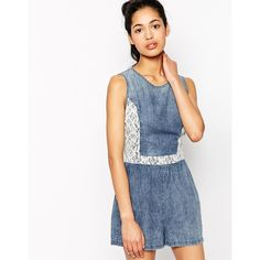 Neon Rose Denim Romper With Lace Panel ($18) ❤ liked on Polyvore featuring jumpsuits, rompers, denim, denim romper, tall romper, denim rompers and playsuit romper