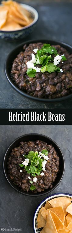 Black beans, cooked and then fried and mashed with onion, garlic, chili, and cilantro. So good!! #BlackBeans