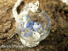 Glaskugelkette Vergissmeinnicht silber von Sara´s Charms auf DaWanda.com