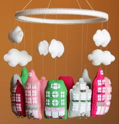 Baby mobile Nursery mobile Crib mobile Unique mobile Baby girl mobile Baby boy mobile Houses mobile Amsterdam mobile Baby shower gift Decor