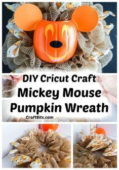 Cricut Craft Mickey Mouse Pumpkin Wreath — CraftBits.com #fallcrafts #halloweencrafts #wreath #disney #mickeymouse