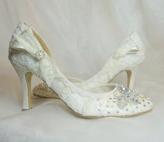 Twinkle Toes ..Wedding Shoes....vintage lace, Swarovski crystals and pearls ...Now Dyable. $305.00, via Etsy.