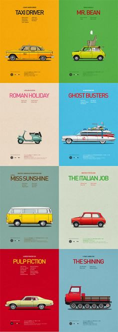 """Famous Cars #vehicles in Iconic Films #graphic #art"""