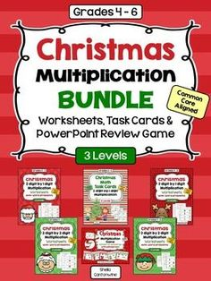 This Christmas Multiplication Bundle features 16 Differentiated Worksheets, 36 Differentiated Task Cards, and 1 PowerPoint Review Game on Multi-Digit Multiplication.  The worksheets have 3 Levels PLUS and additional 4th worksheet with Christmas themed word problems.  The Task Cards have 3 levels.  The PowerPoint game has 5 levels of questions.