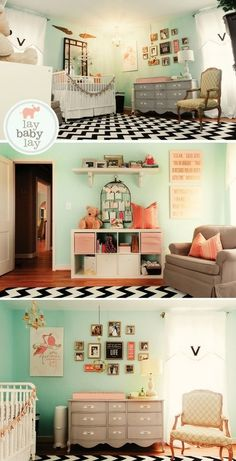 Beautiful Nursery. Love the colors. Especially the black and white rug. Lots of ideas for my little girl's new room once we move.