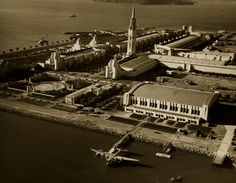 "Pan American Boeing 314 ""California Clipper"" docked at Port of Tradewinds, Treasure Island, 1939."