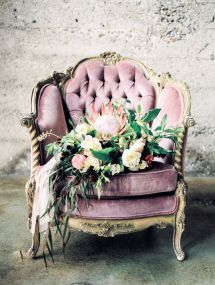 Plush vintage lavender armchair and a leafy bouquet: http://www.stylemepretty.com/california-weddings/san-diego/2015/08/20/romantic-bridal-boudoir-inspiration-at-luce-loft/ | Photography: Whiskers & Willow - http://www.whiskersandwillow.com/
