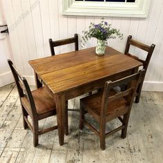 A beautiful little early century Welsh pine farmhouse kitchen table of traditional form. Purchased directly from a paivate house near Machynlleth. Small Farmhouse Table, Small Rustic Kitchens, Farmhouse Kitchen Tables, Rustic Pine Furniture, Wooden Pallet Furniture, Americana Home Decor, Kitchen Table Makeover, Pine Table, Kitchen Furniture