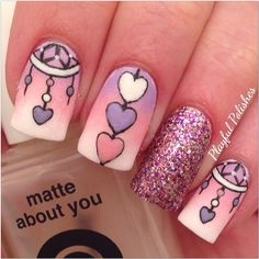 Valentine's Day manicure Nail Art, dreamcatcher & hearts, by playfulpolishes Fingernail Designs, Nail Polish Designs, Nail Art Designs, Dreamcatcher Nails, Cute Nails, Pretty Nails, Valentine Nail Art, Nails Only, Heart Nails