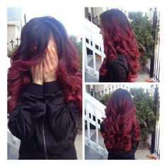 black to red ombre curly hair ❤ liked on Polyvore featuring hair and red hair accessories