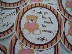 Teddy Bear Party Favor Tags First Birthday Pink by Lilmisscupcake2, $6.00