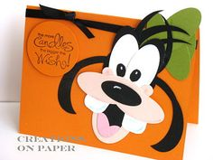 Stampin' Up! Punch Art Kay Sha Goofy (Sandy this is for you) Paper Punch Art, Punch Art Cards, Art Disney, Disney Cards, Goofy Disney, Disney Scrapbook, Scrapbook Cards, Kids Birthday Cards, Mickey And Friends