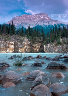 -Mt. Kerkeslin at sunset from the gorge at the bottom of Athabasca Falls. July 14, 2014 - Jasper National Park - Alberta, Canada